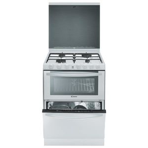 CANDY TRIO 9501/1W Cuisini?re triple-Gaz-4 foyers-3500W-Four élec-40L-Lave vaiss. 6 couverts-56dB-A-L60cm x H86,5cm-Inox anti-traces