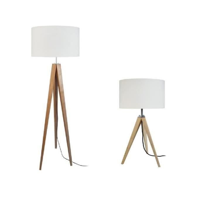 idun lampadaire lampe poser tr pied bois massif naturel idun style scandinave abat jour. Black Bedroom Furniture Sets. Home Design Ideas