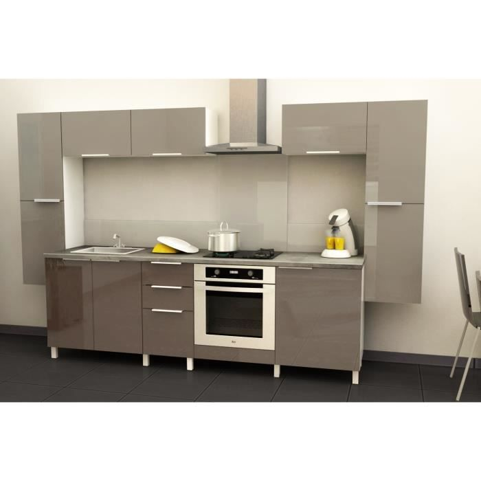 Cuisine compl te spicy 3 20m taupe brillant achat for Cuisine complete taupe