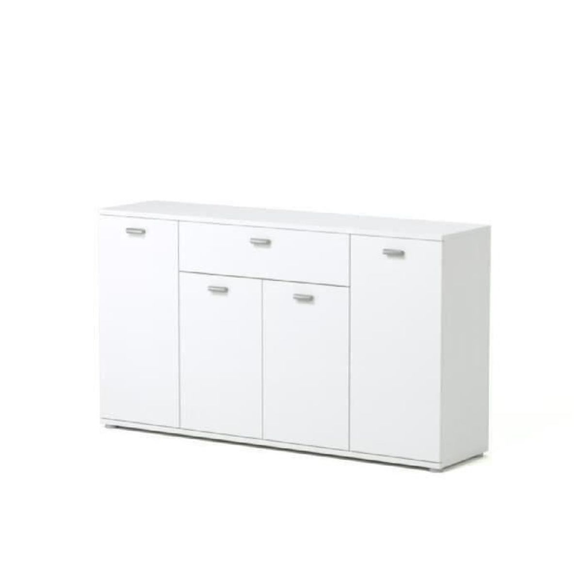 Dixi buffet bas contemporain laqu blanc l 120 cm for Meuble 2 tiroirs 120 cm woodstock laque blanc