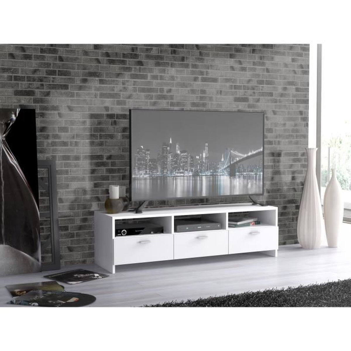 Finlandek meuble tv helppo contemporain blanc l 120cm for Meuble tv finlandek