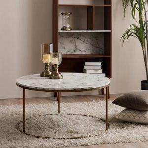 TABLE BASSE Table basse ronde en bois effet faux marbre pieds
