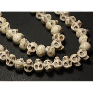 Perles Crâne Tête de Mort 12mm Noir  4558550034892 10pc