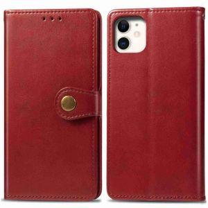 COQUE - BUMPER Coque iPhone 11,Rouge Délicate Couleur unie Cuir P