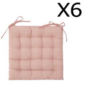 COUSSIN DE CHAISE  Lot de 6 Galettes de chaise rose à motifs - 38 x 3