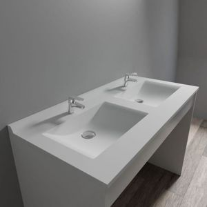 LAVABO - VASQUE CREAZUR Plan double vasque Blanc 120cm
