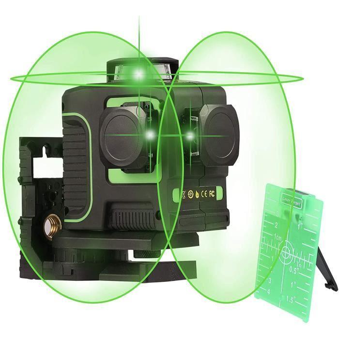 Niveau Laser Autonivelant, 3 x 360° 3D Laser Croix Vert 30m, Laser Horizontal et Vertical, 3 Modes avec Base Magnétique Pivotante