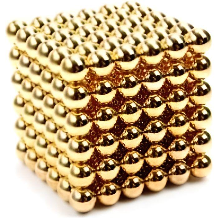 Billes Magnétiques Anti-Stress, Cube magnétique, Zanox, 216 Magnet Balls, Billes Aimantées 5mm, couleur dorée