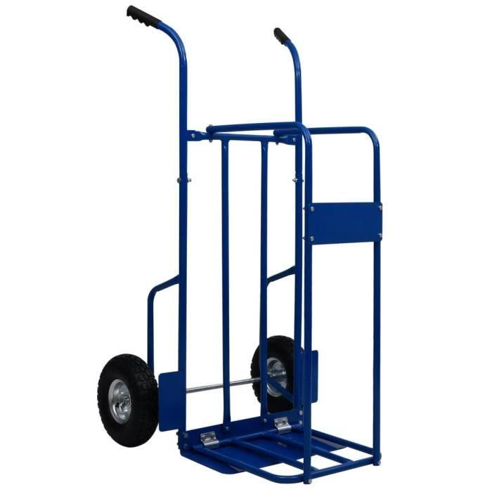 COCO Chariot à bois de chauffage Acier 63x70,5x119,5 cm 120 kg Bleu