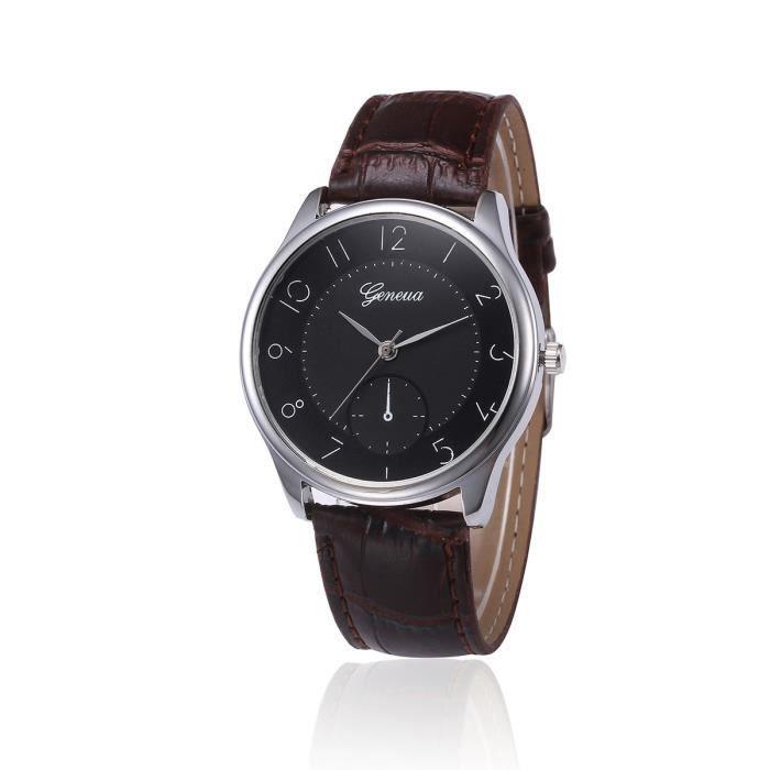 Hommes Retro Design bracelet en cuir analogique en alliage bracelet à quartz gracemui2544