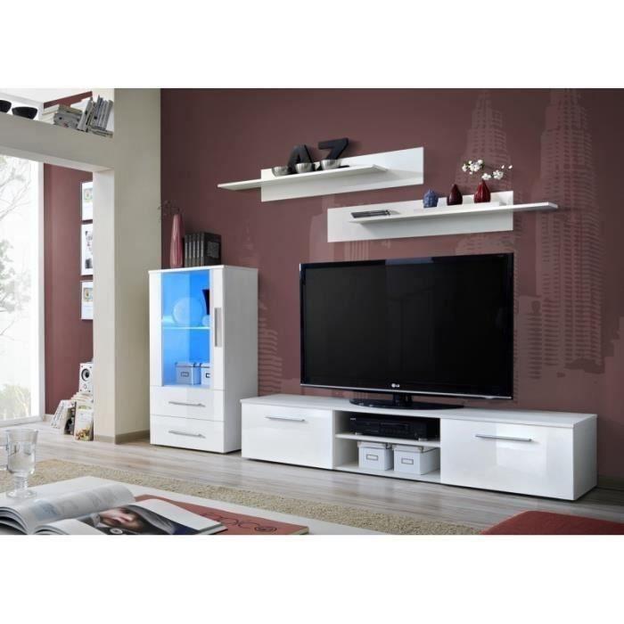 Ensemble de meuble pour salon GALINO H design, coloris blanc brillant. Meuble moderne et tendance pour votre salon.