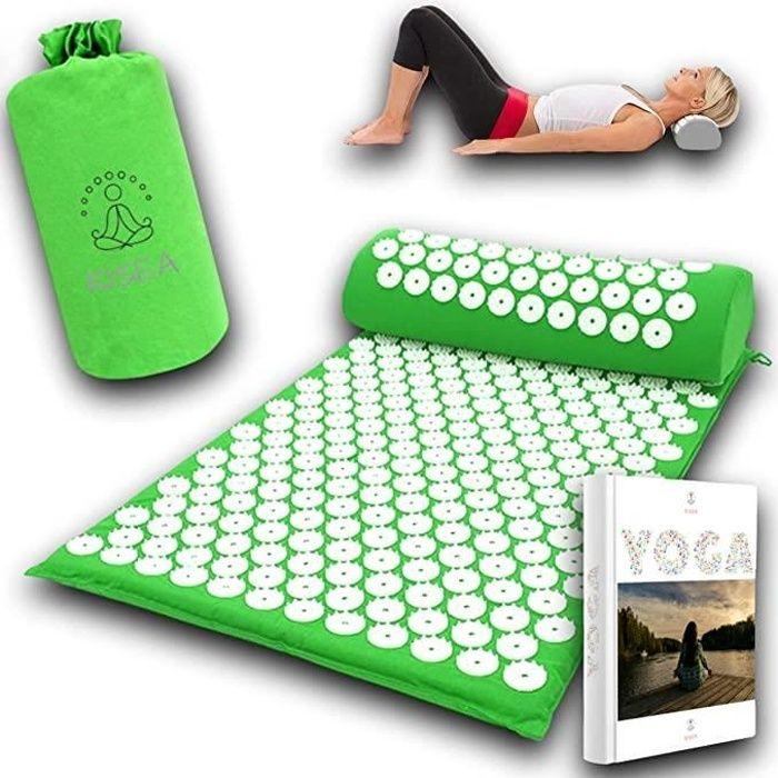 Kit acupression tapis champ de fleurs coussin avec sac de transport pour un corps sans douleurs au quotidien