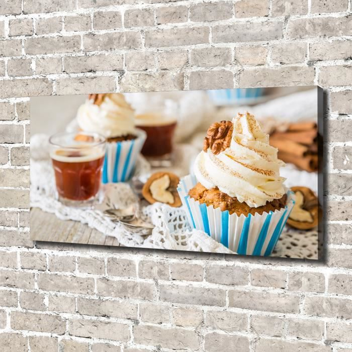 Tulup 140x70 cm art mural - Image sur toile:- Nourriture boissons - Muffins - Multicolore Mixte