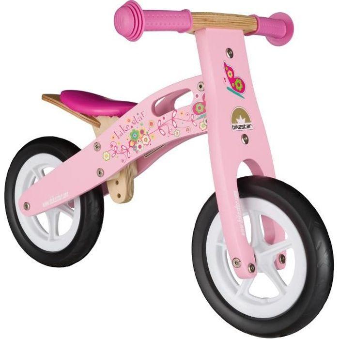 BIKESTAR - Draisienne - 10 pouces - pour enfants de 2 ans - Edition Bois - garçons et filles - Rose