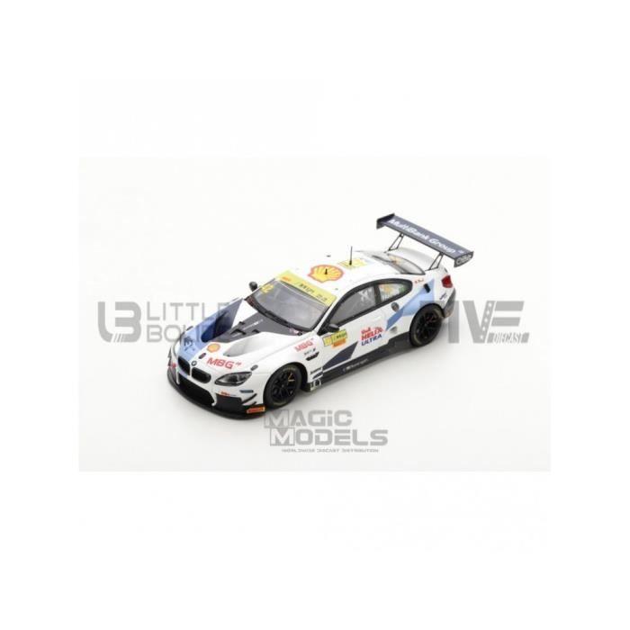 Voiture Miniature de Collection - SPARK 1/43 - BMW M6 GT3 - FIA GT World Cup Macau 2019 - White / Blue - SA212