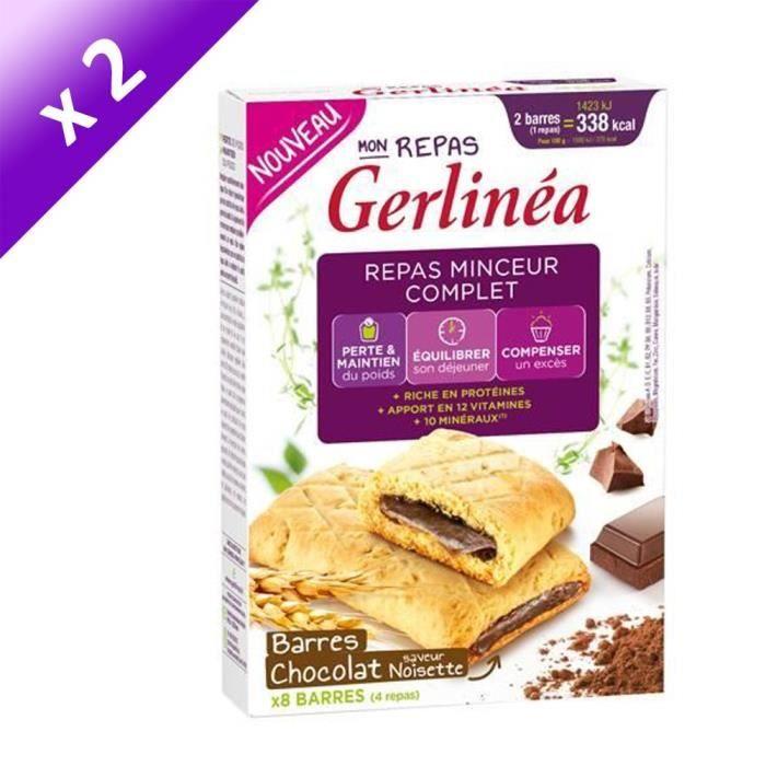 [LOT DE 2] GERLINEA Barres fourrées de chocolat, substitut de repas - 360 g