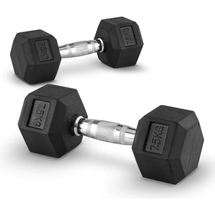 CAPITAL SPORTS Hexbell - Paire d'haltères courts pour musculation, cross-training (caoutchouc résistant , prise chromée) - 2 x 7kg