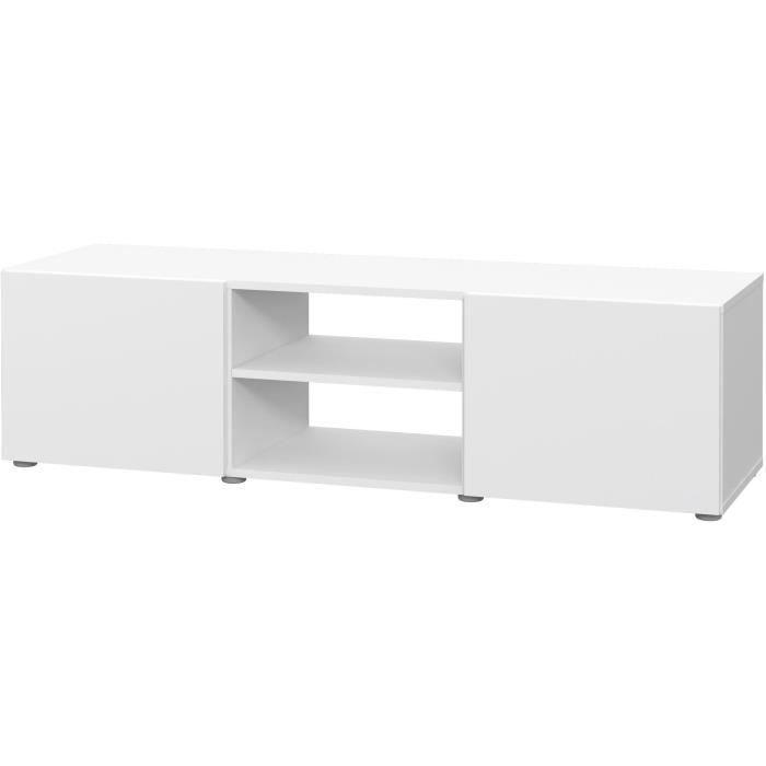 PILVI Meuble TV - Blanc mat - L 140 x P 42 x H 31 cm