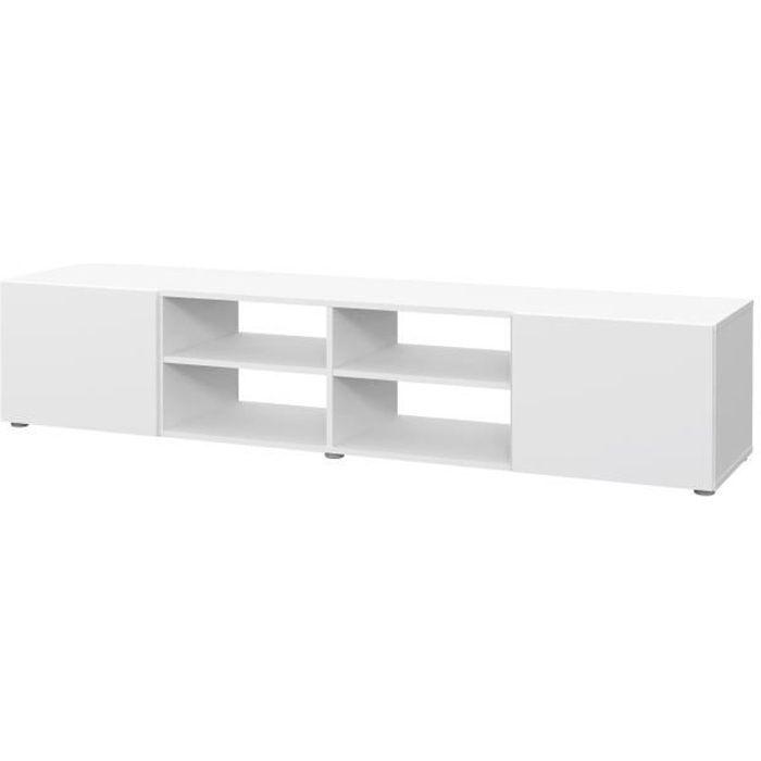 PILVI Meuble TV - Blanc mat - L 180 x P 42 x H 37 cm
