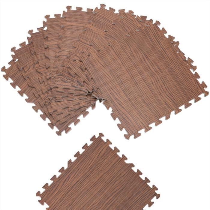 Tapis puzzle aspect bois 8 pièces brun Tapis de sol protection 45 x 45 cm anti-dérapant bruit hydrofuge