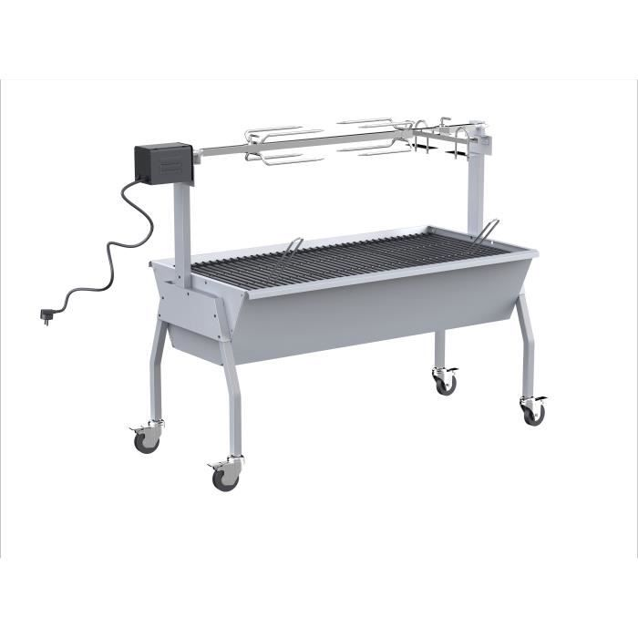 SILVER STYLE Barbecue à charbon - Rôtissoire - Tourne broche XXL