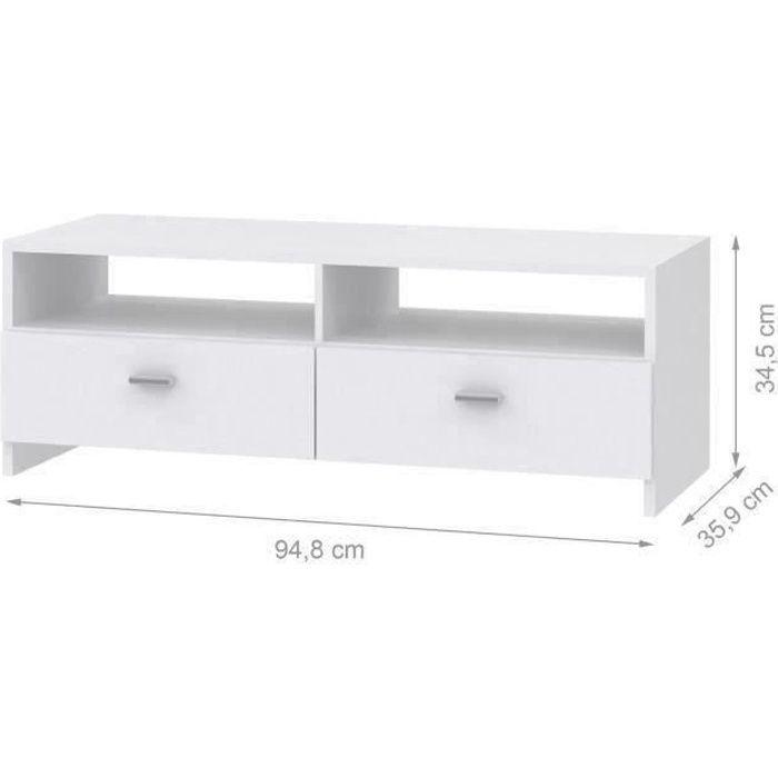 Meuble TV contemporain blanc mat - L 95 cm - PILVI