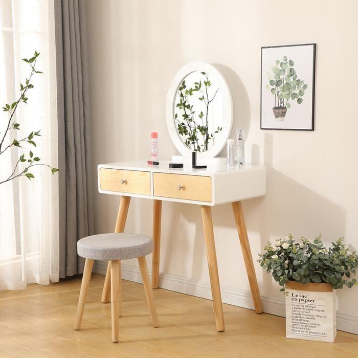 Coiffeuse avec Miroir Rond - Table de Maquillage avec 2 Tiroirs, Miroir et Tabouret - 80 x 40 x 128 cm Blanc Beige