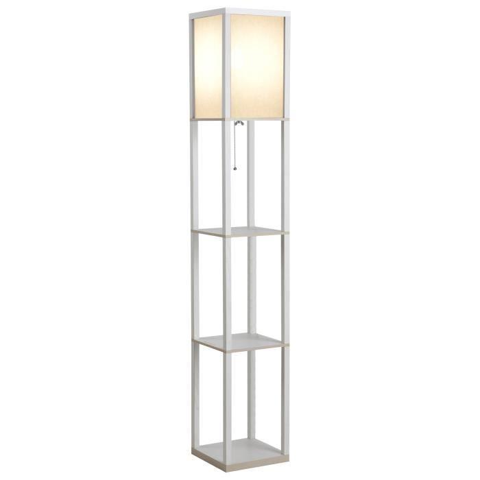Lampadaire étagère lampe 4 niveaux blanc