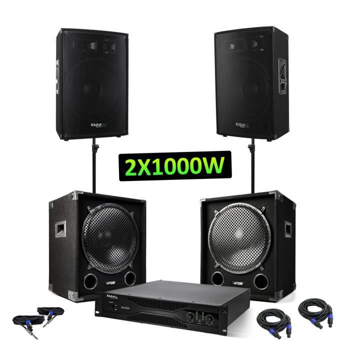Pack sono - 2 caissons 2x1200W + 2 enceintes 2x600W + Amplificateur sono 2x1000W