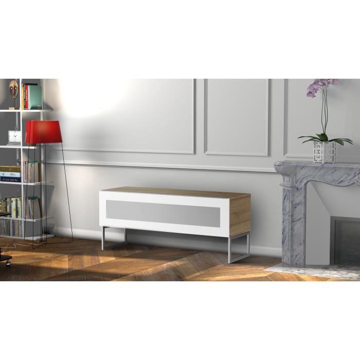 MELICONI MILANO 120 Meuble TV - Longueur 120 cm - VERRE INFRAROUGE - Pieds Design couleur Silver