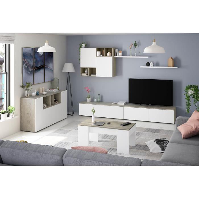 Laska 2 - Ensemble Meuble TV Design chêne Alaska et blanc Blanc