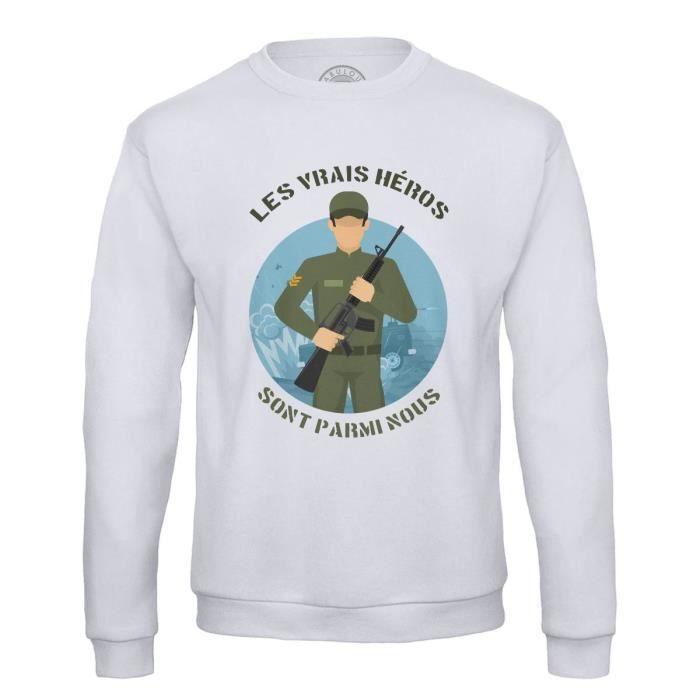Sweat Shirt Homme Les Vrais Héros - Militaire Métier