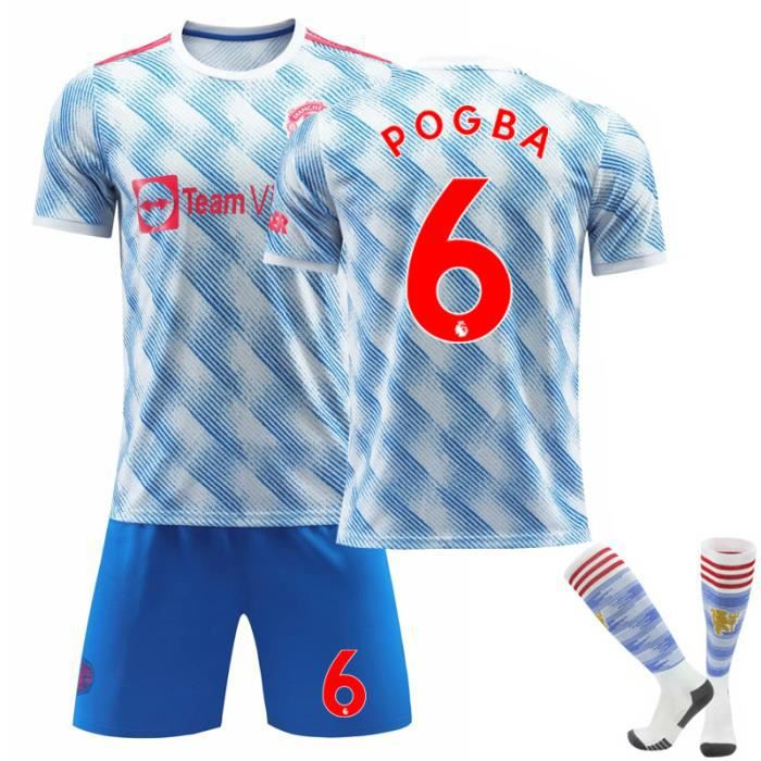 Maillot Football Homme 2021-2022 Pogba 6 Tenue + Chaussette Extérieur Maillot de Formation Bleu pour Adulte