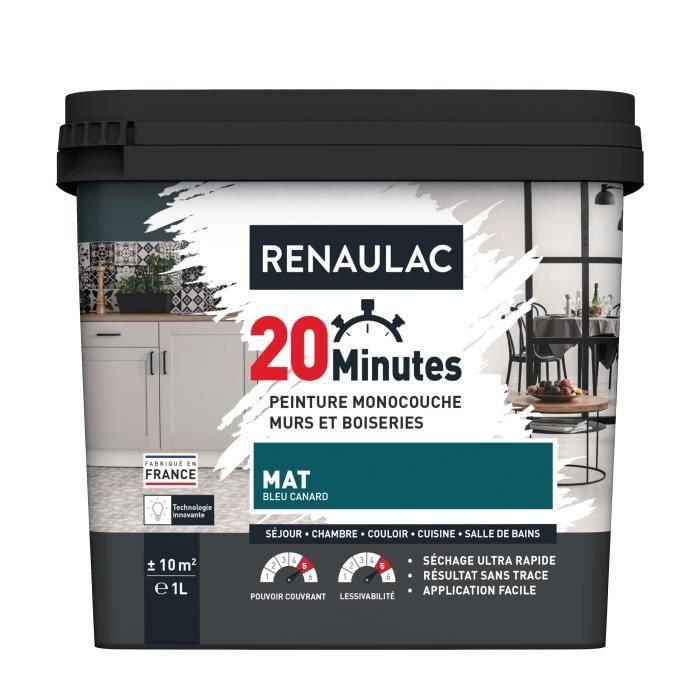 RENAULAC Peinture intérieur monocouche 20 Minutes murs et boiseries - 1L - 10 m² - Bleu canard Mat