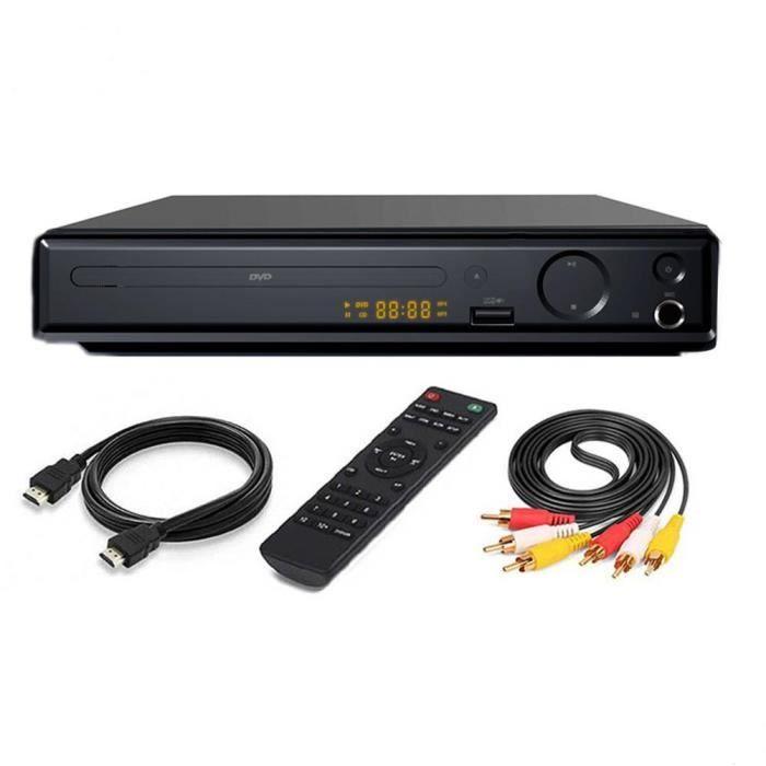 SURENHAP Lecteur DVD 4K UHD 1080P pour TV DVD / SVCD / CD / VCD haute définition, avec câble AV HDMI - 5a6fd