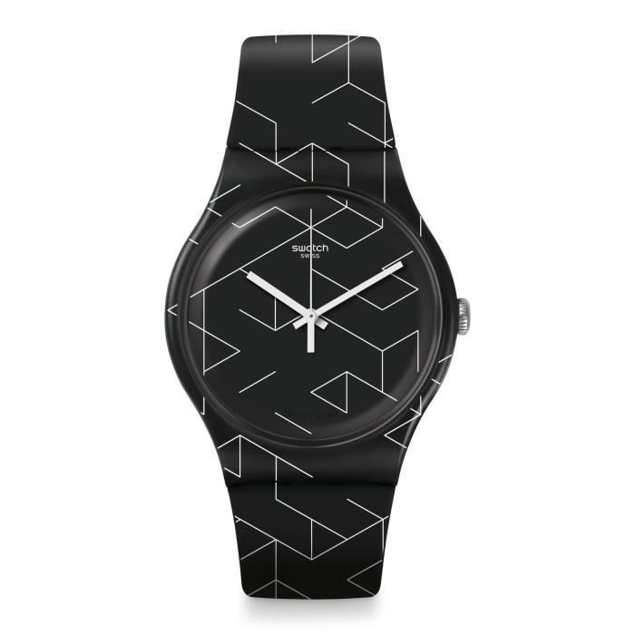 Swatch Cnosso Homme 41mm Bracelet Silicone Bicolore Quartz Montre SUOB161