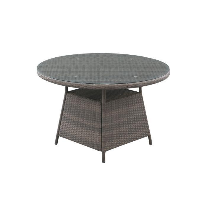 Table de jardin ronde 6 personnes - Diam. 120 x H.75 cm - Aluminium & Résine tressée et Plateau en verre