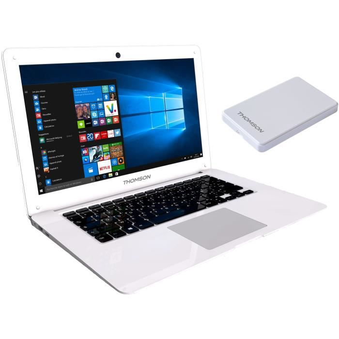 THOMSON PC Portable THN14N120 - 14,1- HD - Atom Z3735F - RAM 2Go - Stockage 32Go SSD - Windows 10 + Disque Dur Externe 120Go