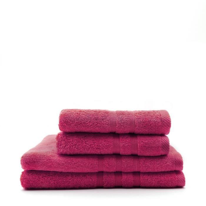 TODAY Lot de 2 Serviettes 50 x 100 cm + 2 Draps de bain 70 x 130 cm - 100% Coton - Jus de myrtille TODAY