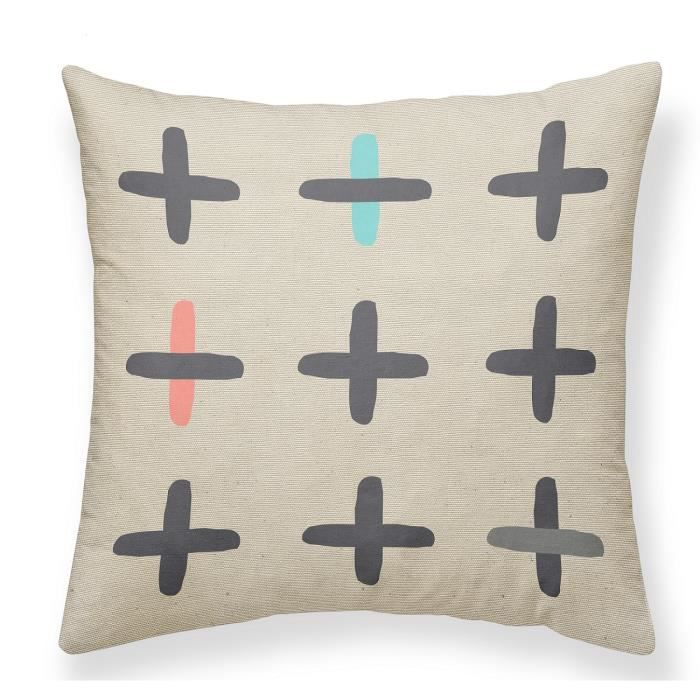 TODAY Coussin Canvas Hippie Chic - 40x40 cm - Motif : croix