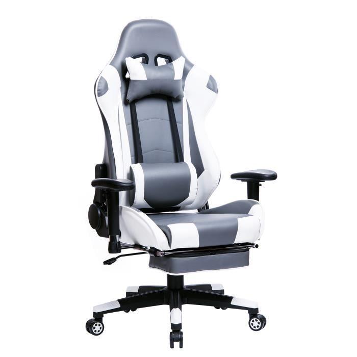WOLTU Fauteuil de bureau en similicuir,Racing chaise,Chaise de bureau avec repose-tête et repose-pieds,Design inclinable,Gris+blanc