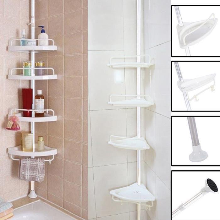 /Étag/ère dangle de salle de bain /à 4 /étages dangle de douche t/élescopique en acier inoxydable Rack Caddy /étag/ère de salle de bain Meuble Rangement Panier de rangement avec crochets