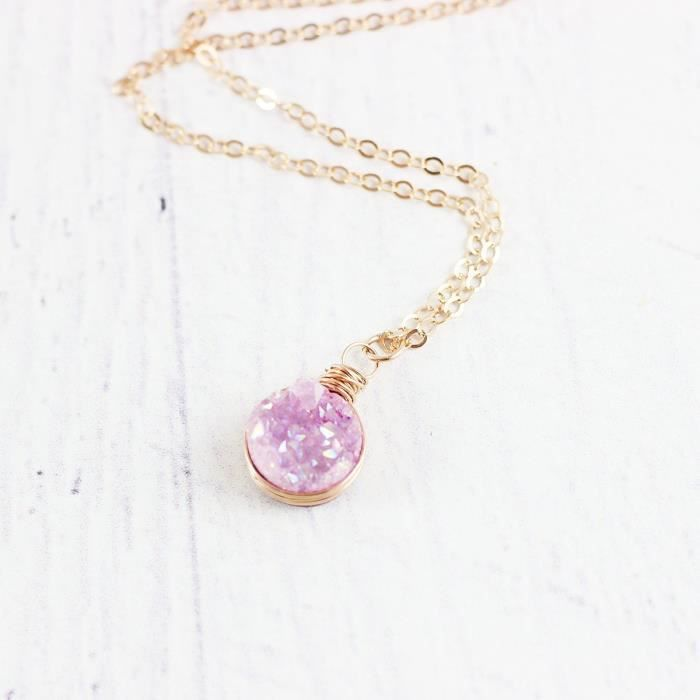 Womens Light Pink Druzy Rose Gold Circle Necklace - 18 Length EK62F