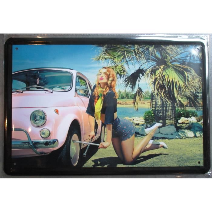 Plaque publicitaire 30cm pin up sexy et fiat 500 rose d co for Decoration murale fiat 500