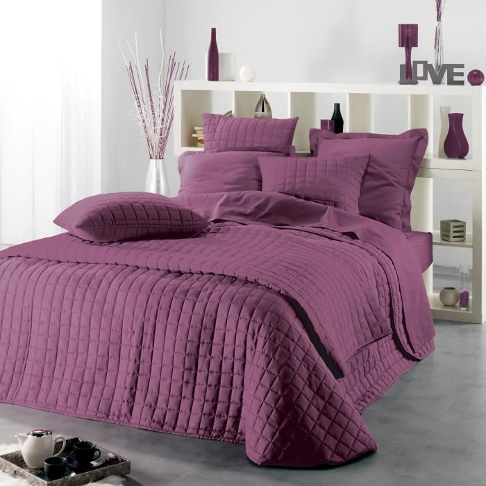 couvre lit 2 personnes mauve 220x240 achat vente jet e de lit boutis cdiscount. Black Bedroom Furniture Sets. Home Design Ideas