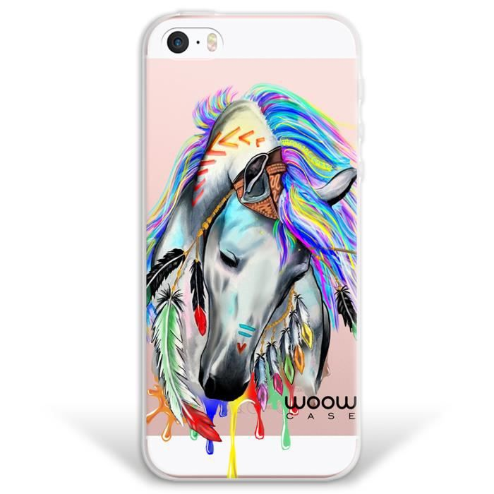 IPhone SE iPhone 5 5S Coque, WoowCase® [ Hybrid ] Cheval Indien ...
