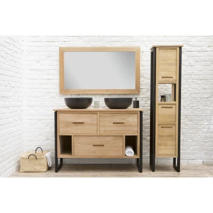 loft ensemble salle de bain double vasque en bois et placage teck massif pieds m tal l 120. Black Bedroom Furniture Sets. Home Design Ideas