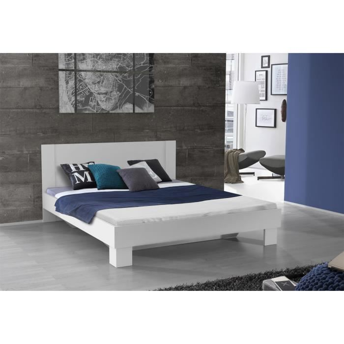finlandek lit adulte 160x200 cm blanc pehmea achat. Black Bedroom Furniture Sets. Home Design Ideas