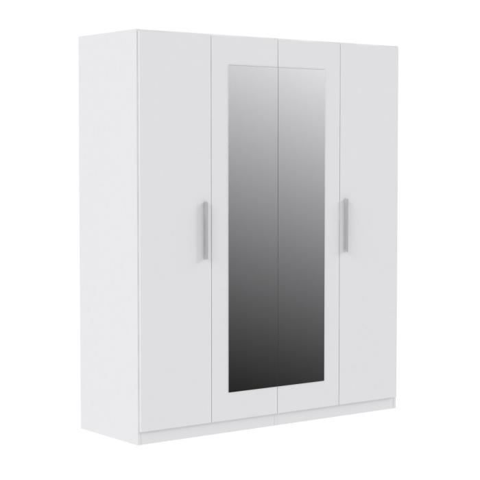 finlandek armoire 4 portes miroir 180x213 cm blanc. Black Bedroom Furniture Sets. Home Design Ideas