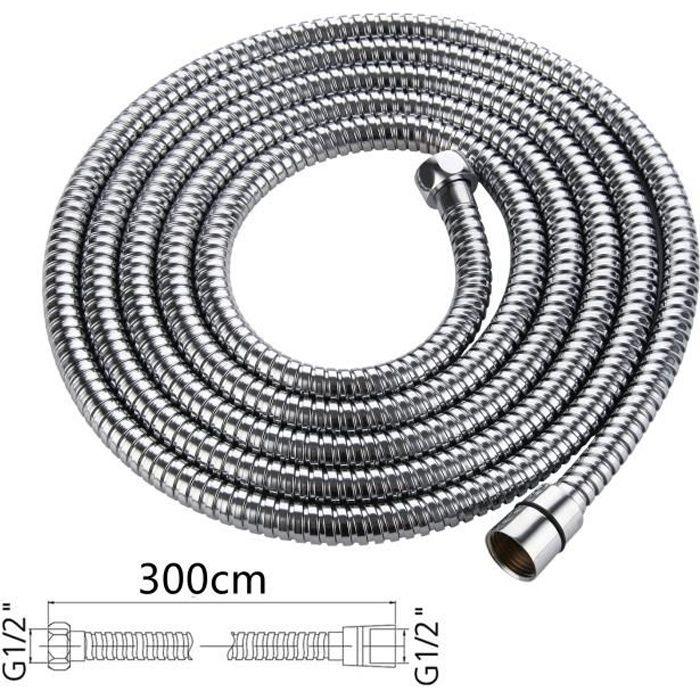 3 m tuyau de remplacement extra long en acier inoxydable avec rondelles Tuyau de douche de 3 m